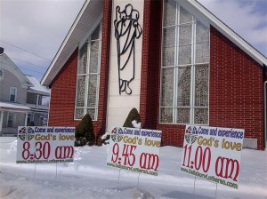 church parish service times - yard signs